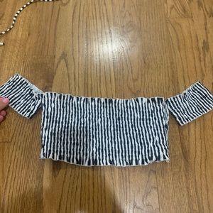Revolve Tularosa Bikini off the shoulder striped